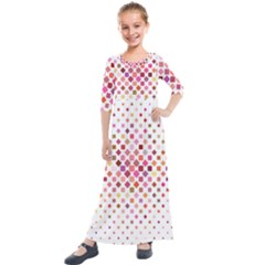 Square Pattern Background Repeat Kids  Quarter Sleeve Maxi Dress by AnjaniArt