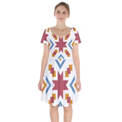 Star Flag Short Sleeve Bardot Dress by AnjaniArt