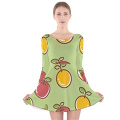 Seamless Fruit Long Sleeve Velvet Skater Dress by AnjaniArt
