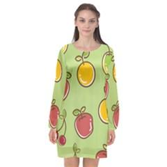 Seamless Fruit Long Sleeve Chiffon Shift Dress  by AnjaniArt