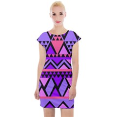 Seamless Purple Pink Pattern Cap Sleeve Bodycon Dress