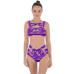 Seamless Purple Pink Pattern Bandaged Up Bikini Set