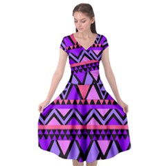 Seamless Purple Pink Pattern Cap Sleeve Wrap Front Dress