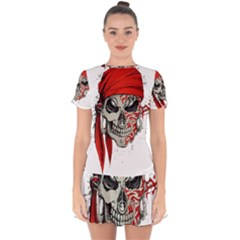 Skull Drop Hem Mini Chiffon Dress by AnjaniArt