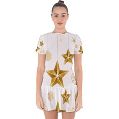 Star Christmas Ornaments Drop Hem Mini Chiffon Dress