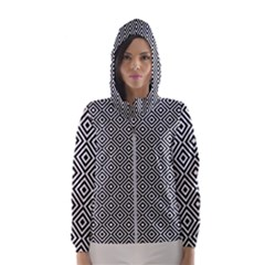 Square Diagonal Concentric Pattern Hooded Windbreaker (women) by AnjaniArt