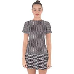 Square Diagonal Concentric Pattern Drop Hem Mini Chiffon Dress