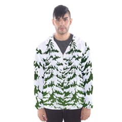 Winter Snowy Pine Tree Hooded Windbreaker (men) by AnjaniArt