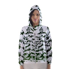 Winter Snowy Pine Tree Hooded Windbreaker (women)