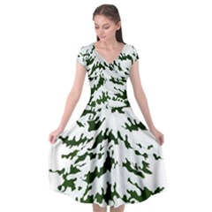 Winter Snowy Pine Tree Cap Sleeve Wrap Front Dress