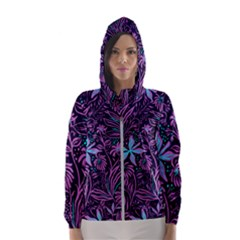 Stamping Pattern Leaves Hooded Windbreaker (women)
