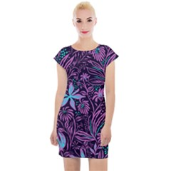 Stamping Pattern Leaves Cap Sleeve Bodycon Dress by AnjaniArt