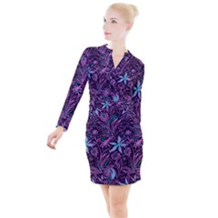 Stamping Pattern Leaves Button Long Sleeve Dress