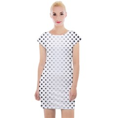 Square Rounded Background Cap Sleeve Bodycon Dress