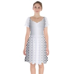 Square Rounded Background Short Sleeve Bardot Dress