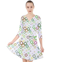 Square Colorful Geometric Style Quarter Sleeve Front Wrap Dress by Alisyart