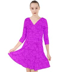 Triangle Pattern Seamless Color Quarter Sleeve Front Wrap Dress