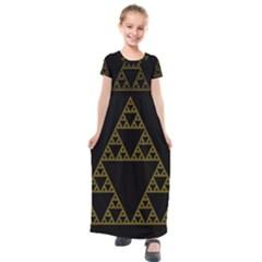 Sierpinski Triangle Chaos Fractal Kids  Short Sleeve Maxi Dress by Alisyart