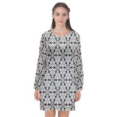 Ornamental Checkerboard Long Sleeve Chiffon Shift Dress