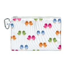 Pattern Birds Cute Canvas Cosmetic Bag (large) by Mariart