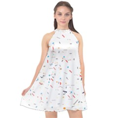 Ribbon Polka Halter Neckline Chiffon Dress