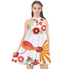 Peacock Pattern Halter Neckline Chiffon Dress  by Mariart