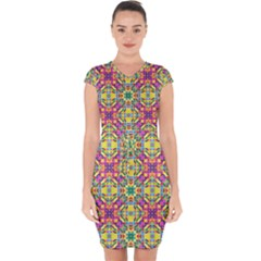 Triangle Mosaic Pattern Repeating Capsleeve Drawstring Dress  by Mariart