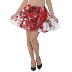 Red Pomegranate Fried Fruit Juice Velvet Skater Skirt