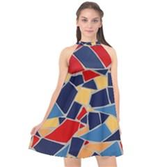 Pattern Tile Wall Background Halter Neckline Chiffon Dress  by Pakrebo