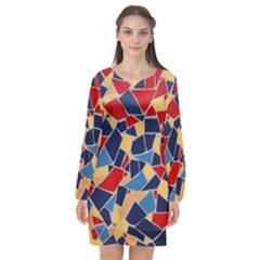 Pattern Tile Wall Background Long Sleeve Chiffon Shift Dress