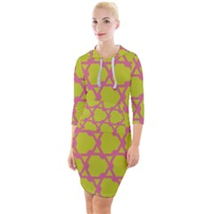 Pattern Background Structure Pink Quarter Sleeve Hood Bodycon Dress by Pakrebo