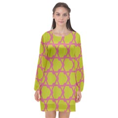 Pattern Background Structure Pink Long Sleeve Chiffon Shift Dress
