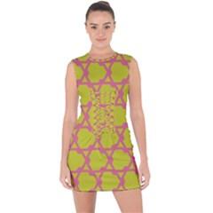 Pattern Background Structure Pink Lace Up Front Bodycon Dress by Pakrebo