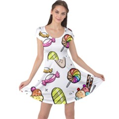 Doodle Cartoon Drawn Cone Food Cap Sleeve Dress