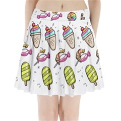 Doodle Cartoon Drawn Cone Food Pleated Mini Skirt