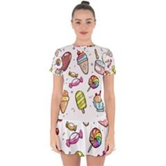 Doodle Cartoon Drawn Cone Food Drop Hem Mini Chiffon Dress by Pakrebo