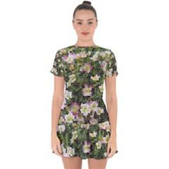 Mosaic Structure Pattern Background Drop Hem Mini Chiffon Dress