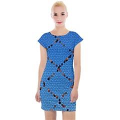 Pattern Structure Background Blue Cap Sleeve Bodycon Dress