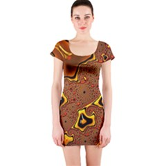 Fractal Julia Mandelbrot Art Short Sleeve Bodycon Dress