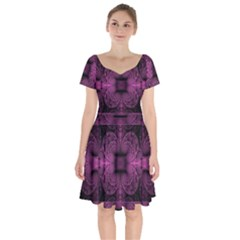 Fractal Magenta Pattern Geometry Short Sleeve Bardot Dress by Pakrebo