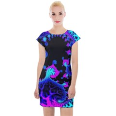 Fractal Pattern Spiral Abstract Cap Sleeve Bodycon Dress