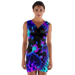 Fractal Pattern Spiral Abstract Wrap Front Bodycon Dress