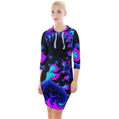 Fractal Pattern Spiral Abstract Quarter Sleeve Hood Bodycon Dress by Pakrebo
