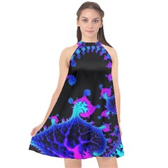 Fractal Pattern Spiral Abstract Halter Neckline Chiffon Dress