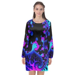 Fractal Pattern Spiral Abstract Long Sleeve Chiffon Shift Dress  by Pakrebo