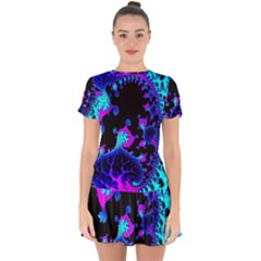 Fractal Pattern Spiral Abstract Drop Hem Mini Chiffon Dress by Pakrebo