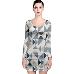 Geometric Triangle Modern Mosaic Long Sleeve Bodycon Dress