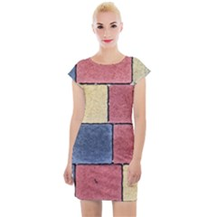 Model Mosaic Wallpaper Texture Cap Sleeve Bodycon Dress