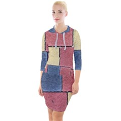 Model Mosaic Wallpaper Texture Quarter Sleeve Hood Bodycon Dress