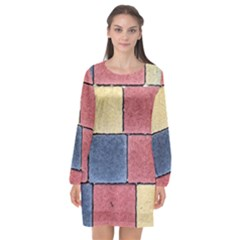 Model Mosaic Wallpaper Texture Long Sleeve Chiffon Shift Dress